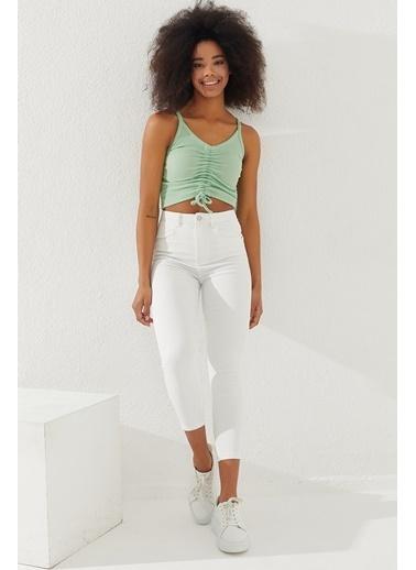 Reyon REYON Kadın Önü Büzgülü Askılı Crop Bluz Mint Yeşili Yeşil